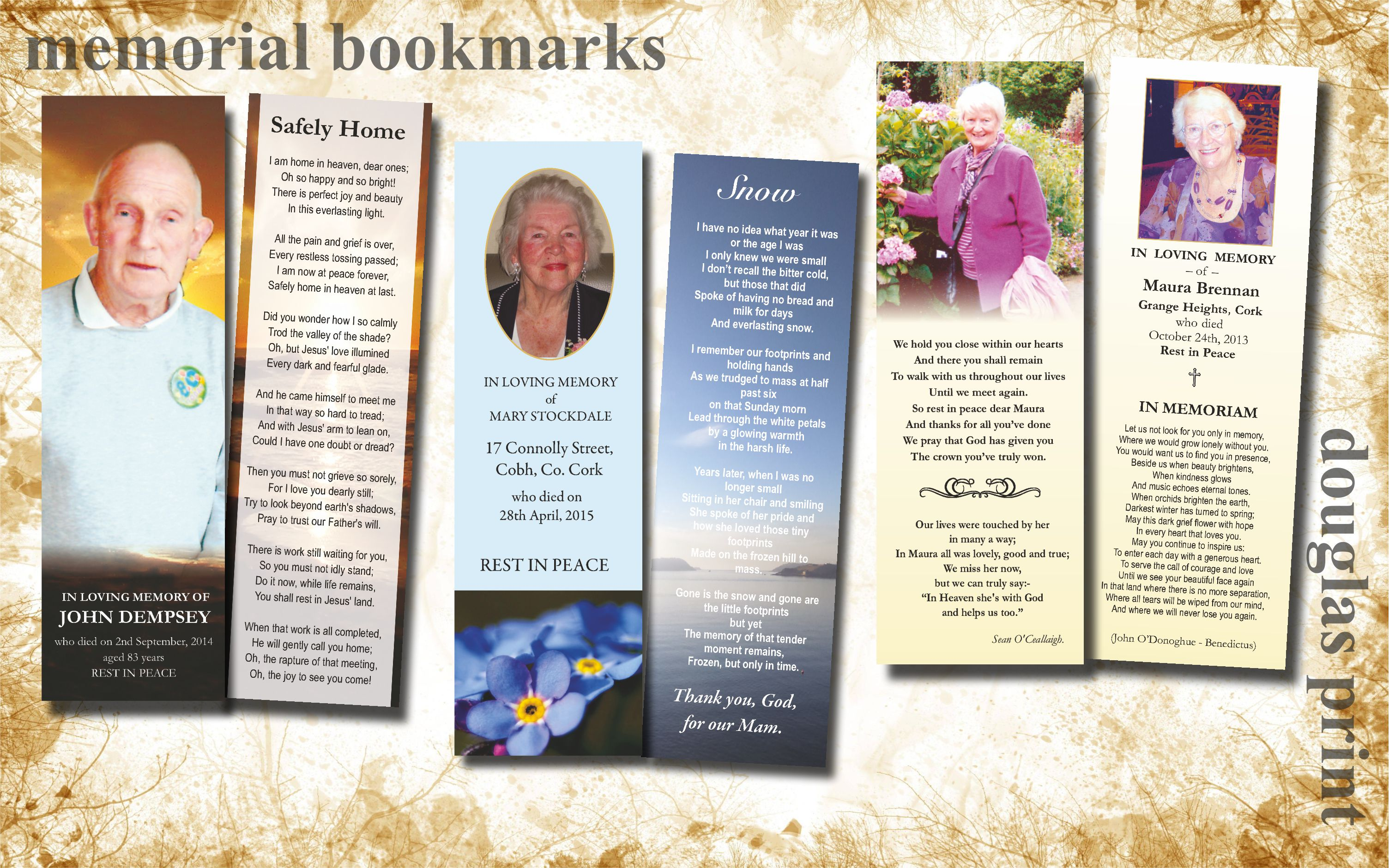 Memorial bookmarks 21 obituary card templates free for Funeral bookmarks template free